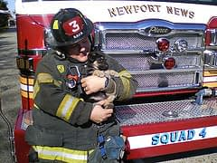 Puppy Socialization with Firefighter